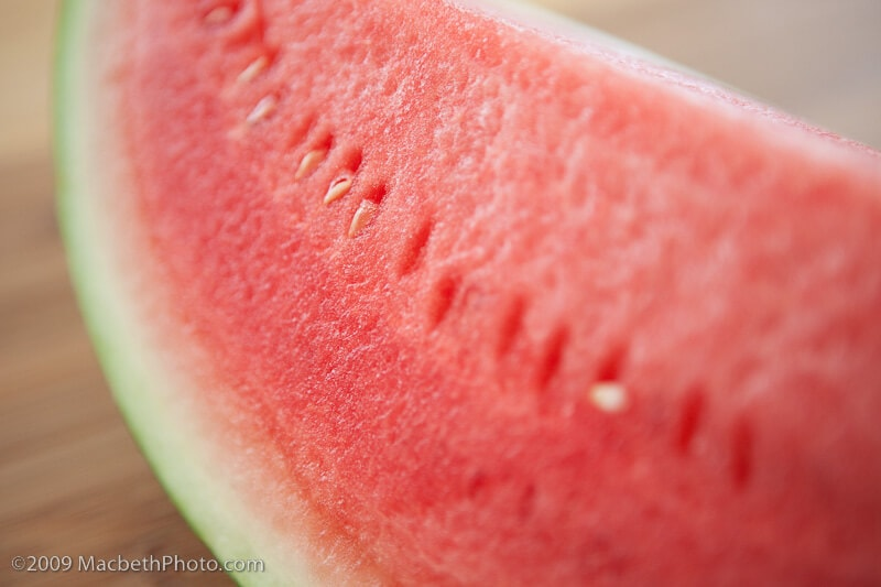 Close up of a quarter watermelon.