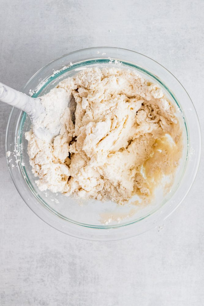 Overhead look at the biscuit mix with added water to form the dough.