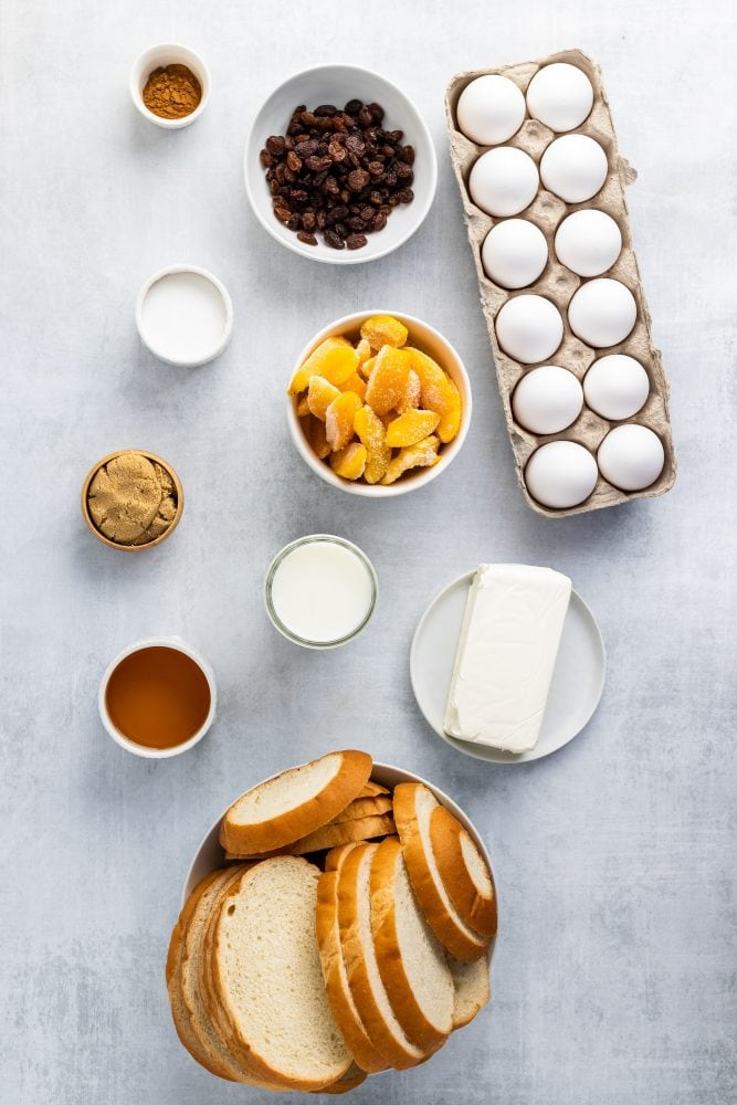 Overhead shot of ingredients for bread pudding.