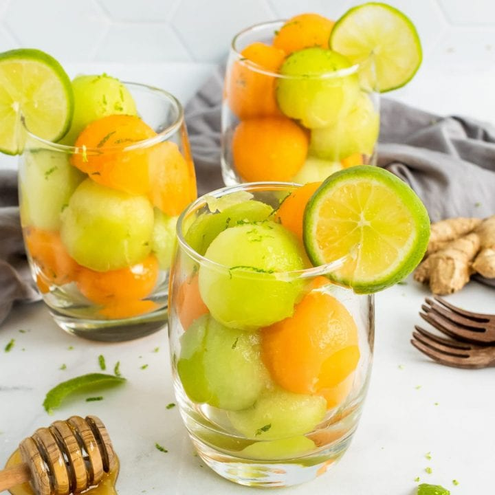 Melon Salad with Honey Ginger Lime Marinade