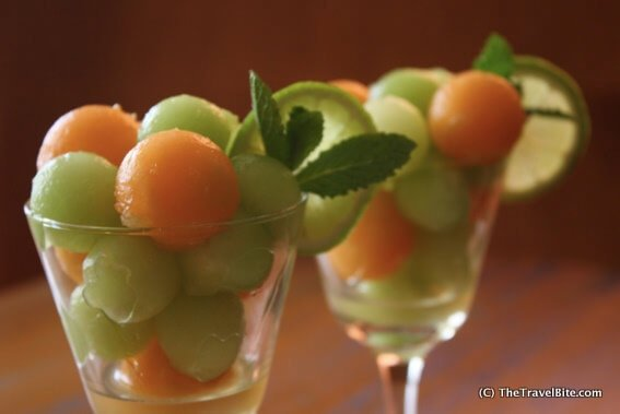 Melon Coolers with Honey Ginger Lime Marinade