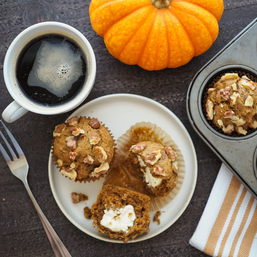 Pumpkin Cream Cheese Muffins - TheTravelBite.com