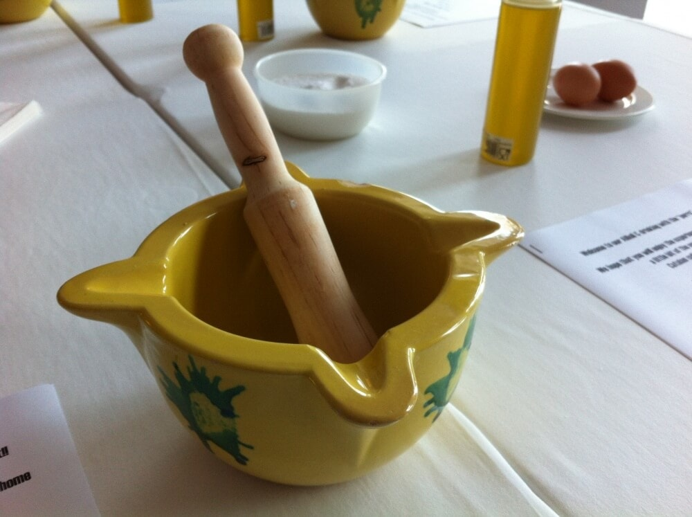 A traditional aioli mortar and pestle.