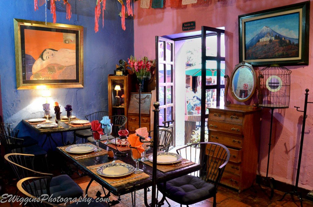 One of the colorful, eclectic dining rooms at Mesones Sacristía