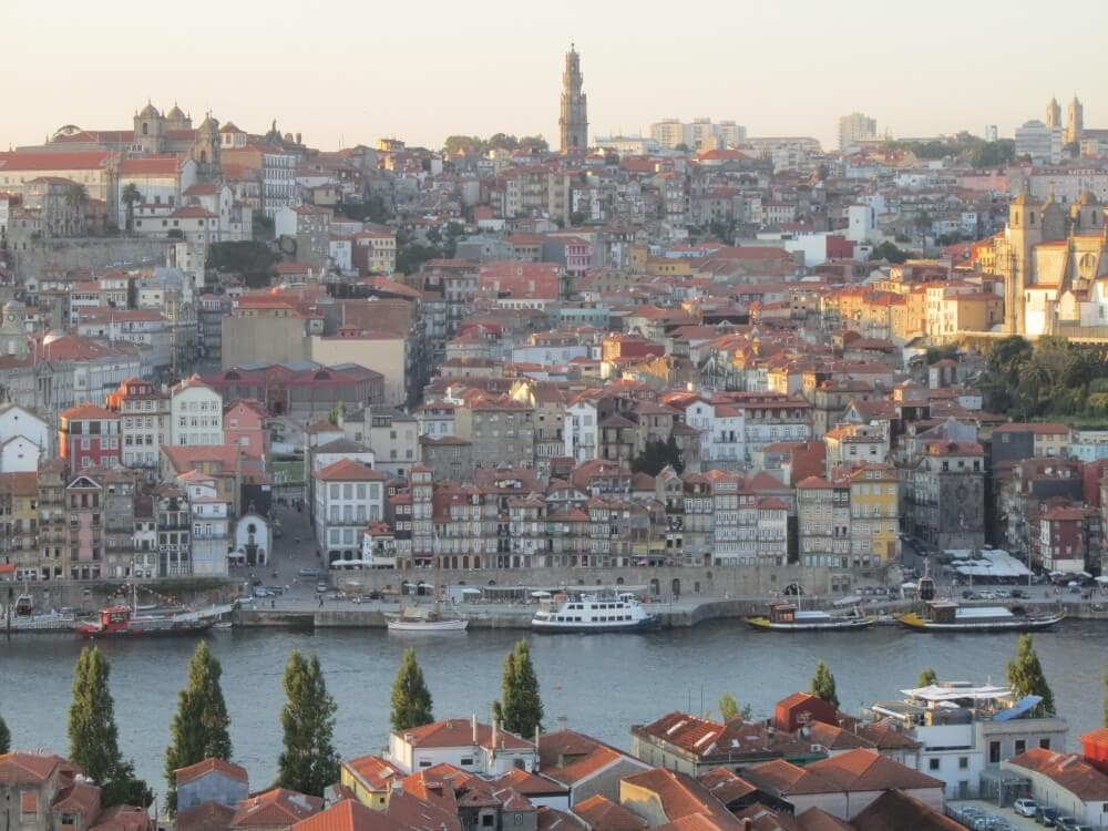 A photo of Oporto, Portugal and the Douro River taken from the viewpoint of the Yeatman Hotel.