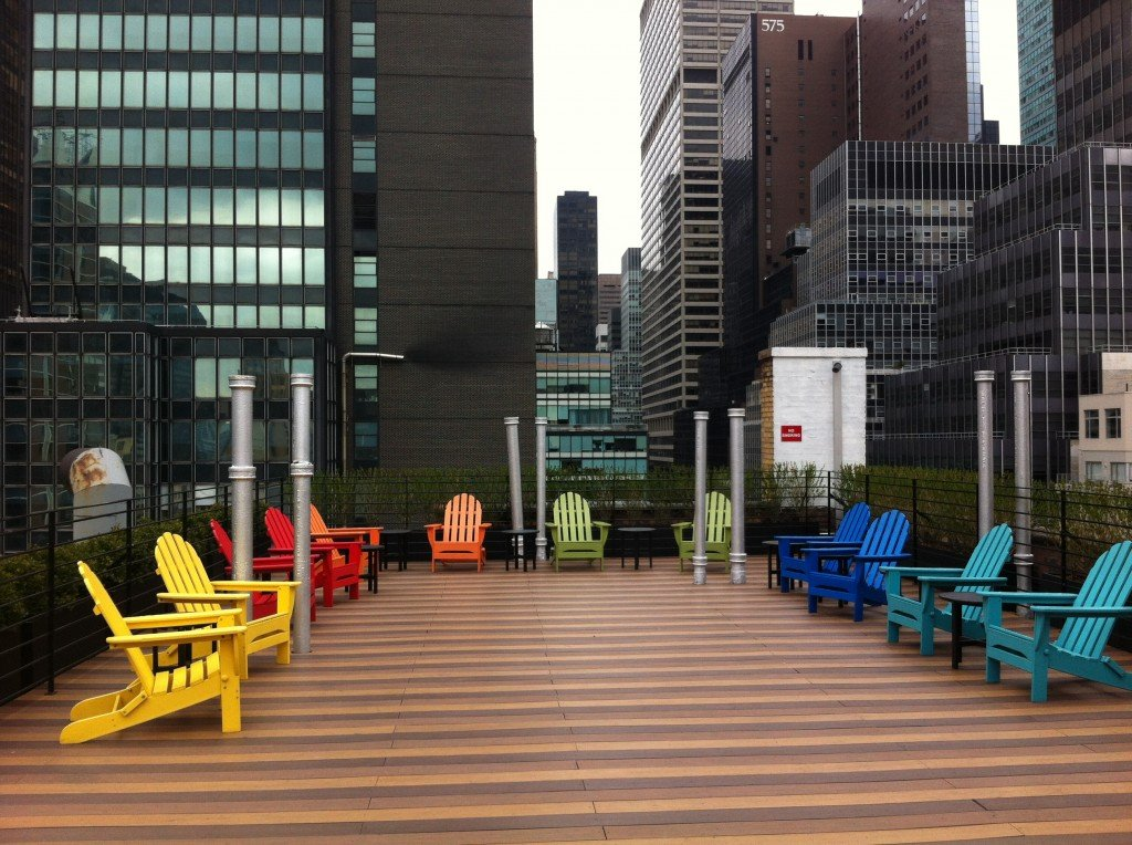 Adirondak Chairs On Pod's Rooftop Deck
