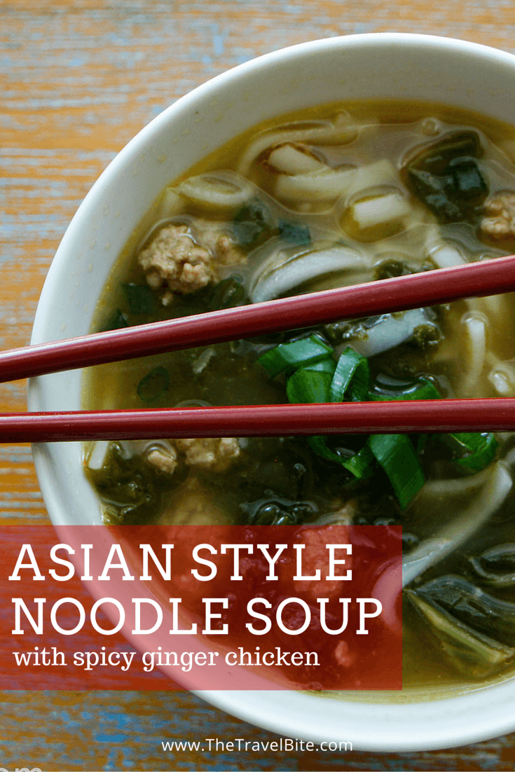 Asian Style Noodle Soup with spicy ginger chicken-6