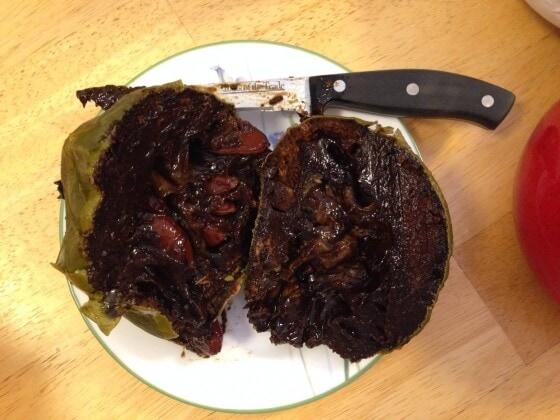 black sapote cut in half
