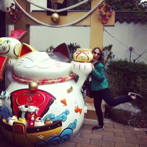 Having fun on Lantau Island while visiting for Chinese New Year in 2013