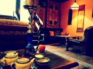Inside a tea house
