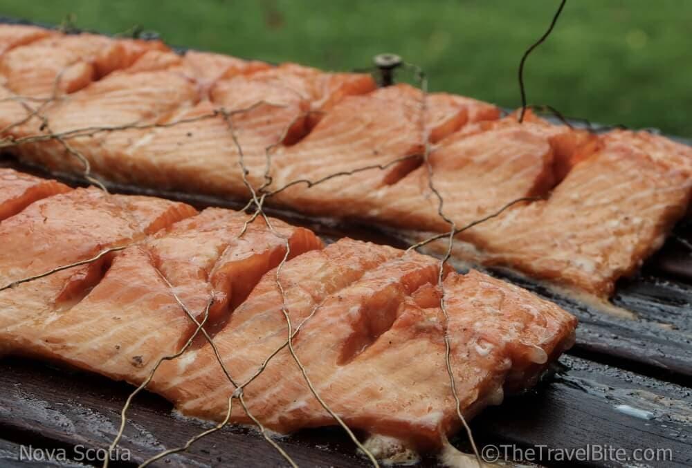 Close up of salmon on cedar plank.