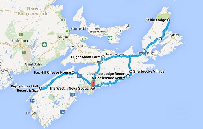 Google maps screenshot of road trip through Nova Scotia stopping at Digby Pines, Fox Hill Cheese, The Westin Nova Scotian, Liscombe Lodge, Sugar Moon Farm, Sherbrooke Village, and Keltic Lodge.