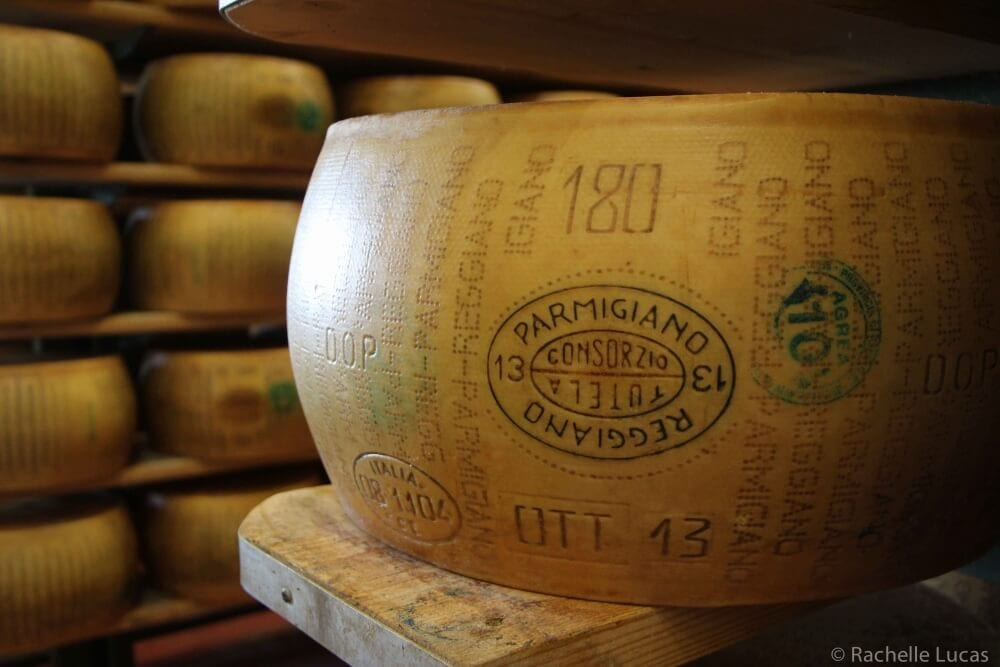 A wheel of Parmigiano Reggiano cheese.