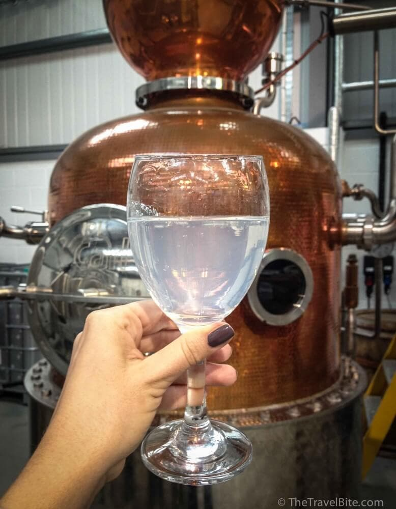 A glass of gin and tonic (without ice) next to a copper pot still.