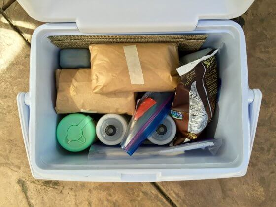 Our picnic lunch packed neatly in a large cooler