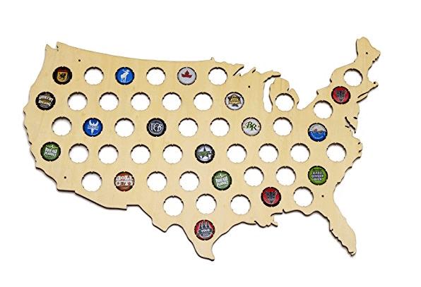 beer bottle cap map gift for travelers