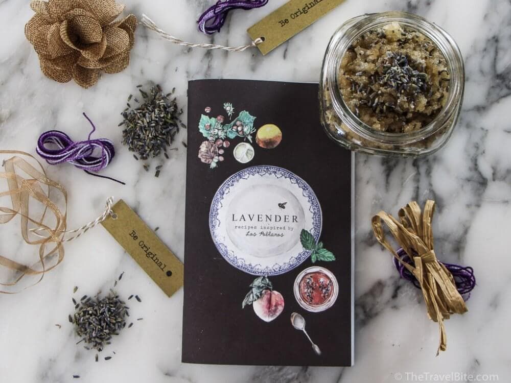 Lavender recipe book with ribbons to decorate jar and DIY Honey Lip Scrub with purple lavender.