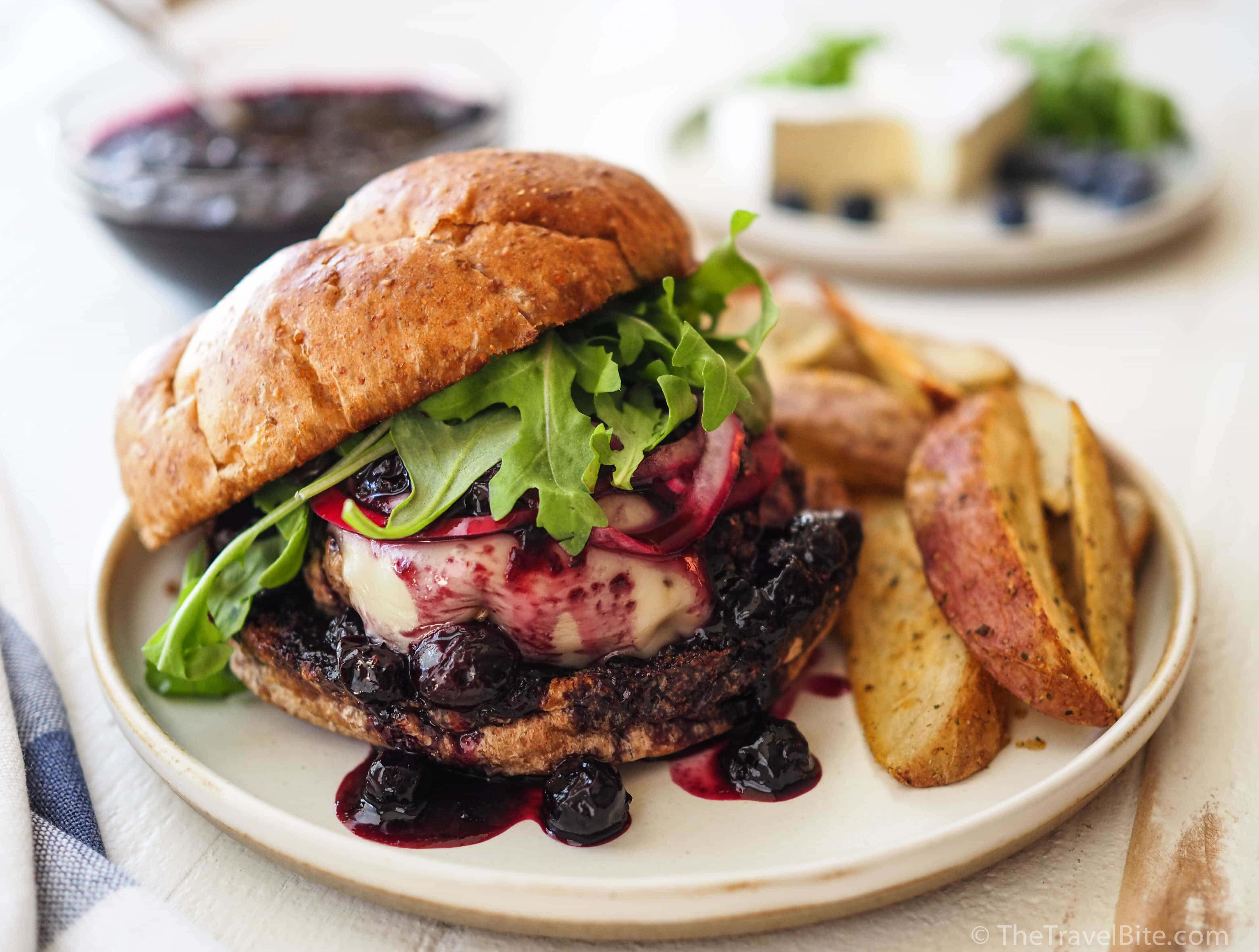 Balsamic Blueberry & Brie Burgers