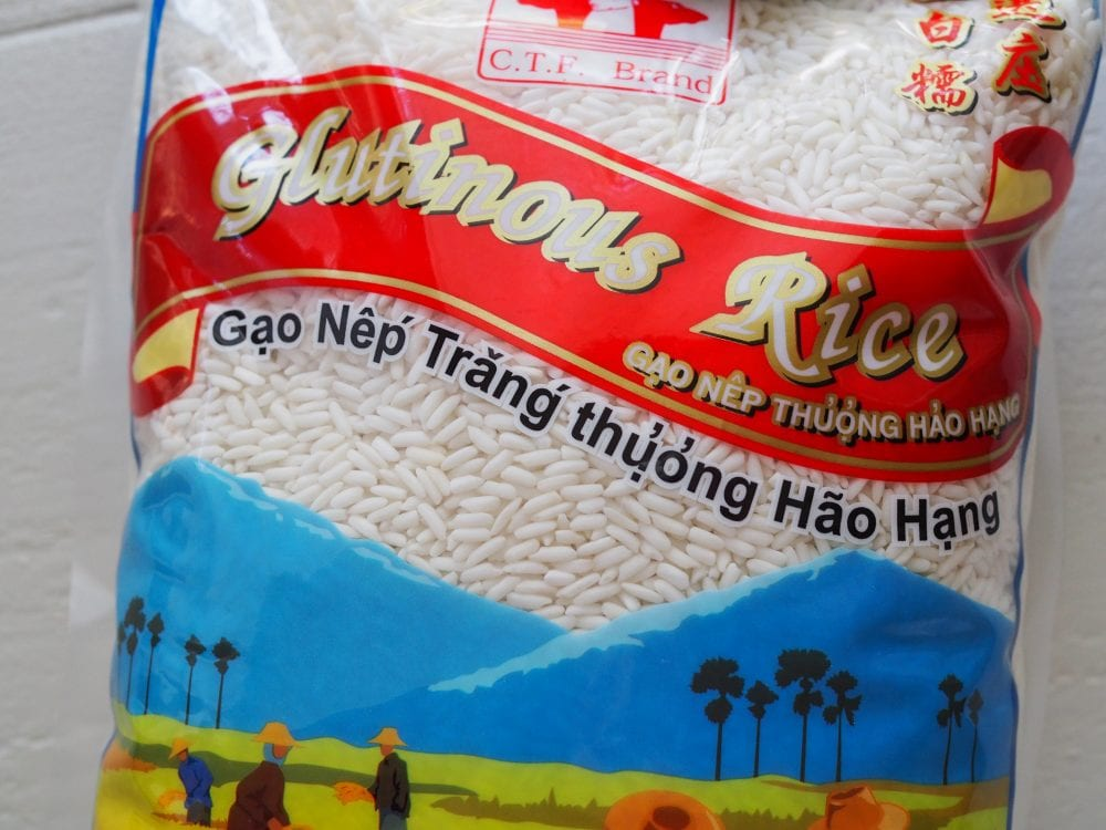 Photo of glutinous rice bag and label.
