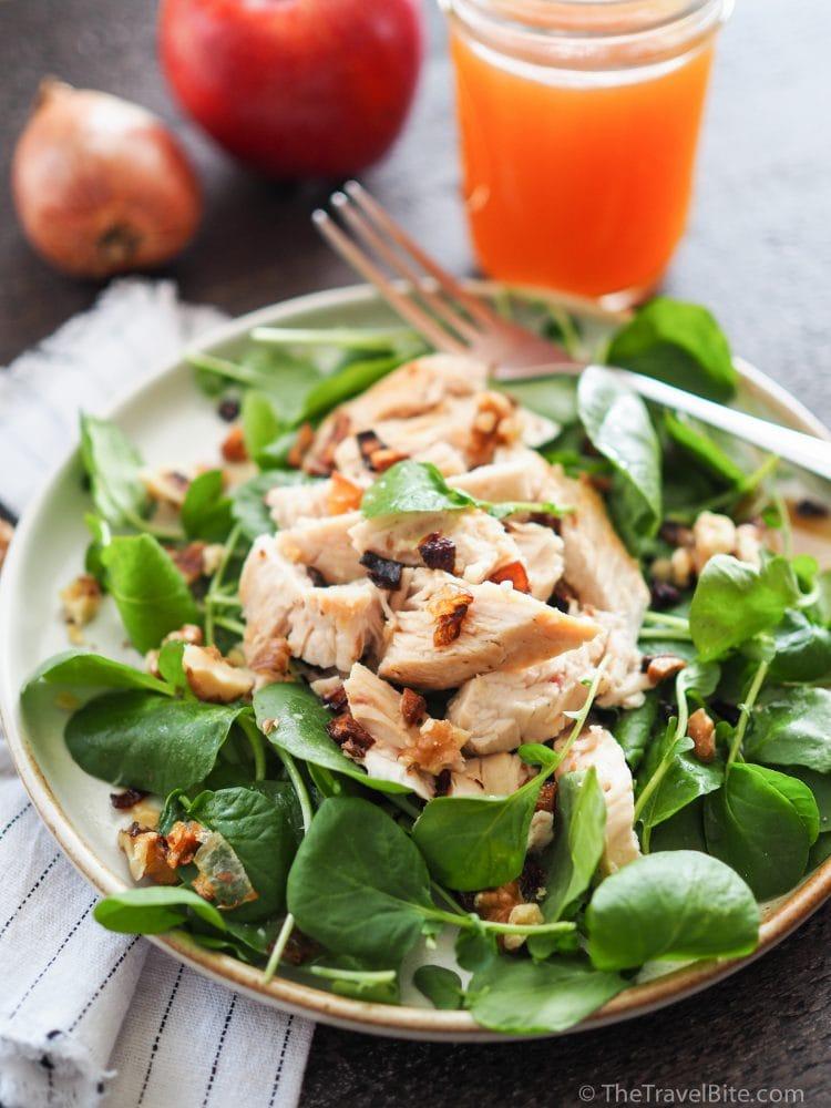 autumn salad apple cider chicken