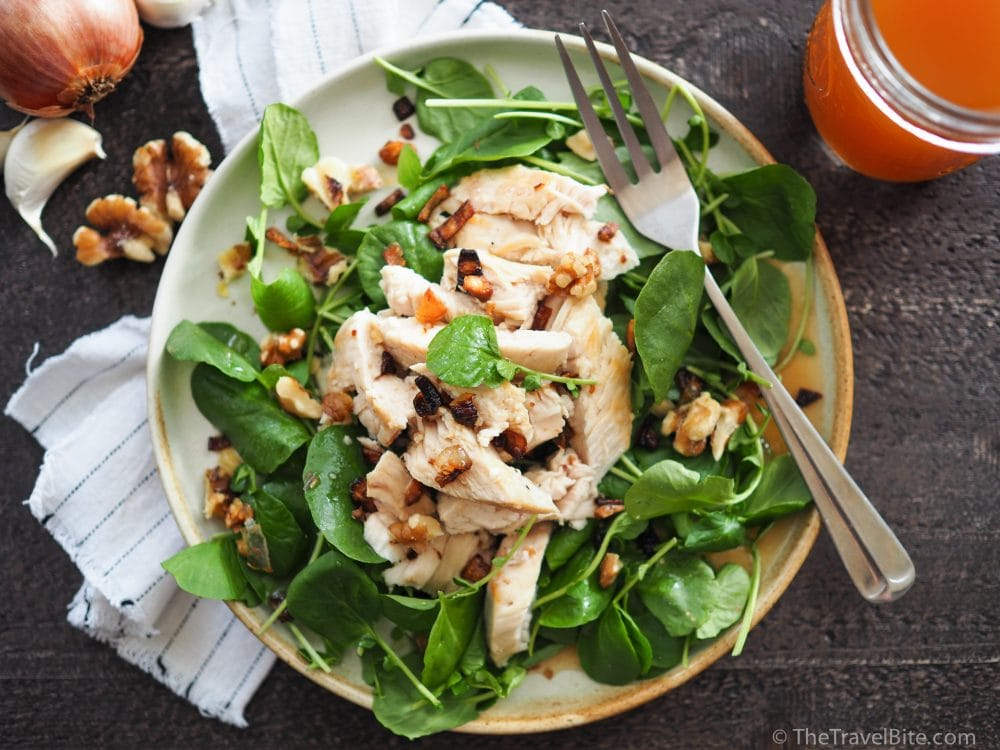 autumn salad apple cider chicken