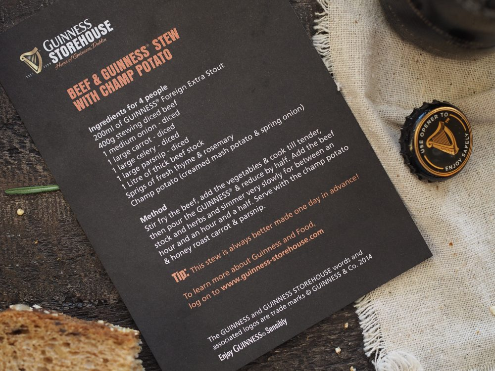 Photo of recipe card from the Guinness Storehouse. Recipe typed up below.