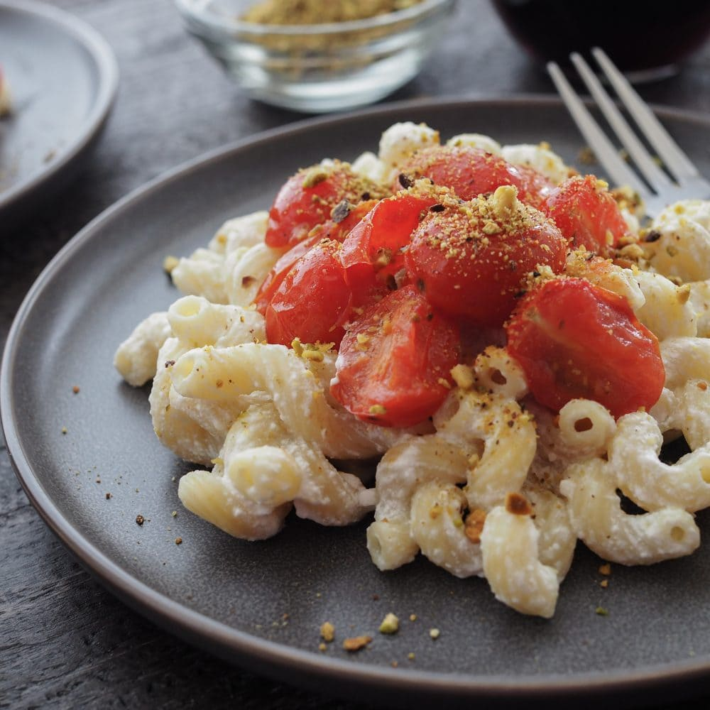 Lemon Pistachio Cavatappi with Roasted Tomatoes