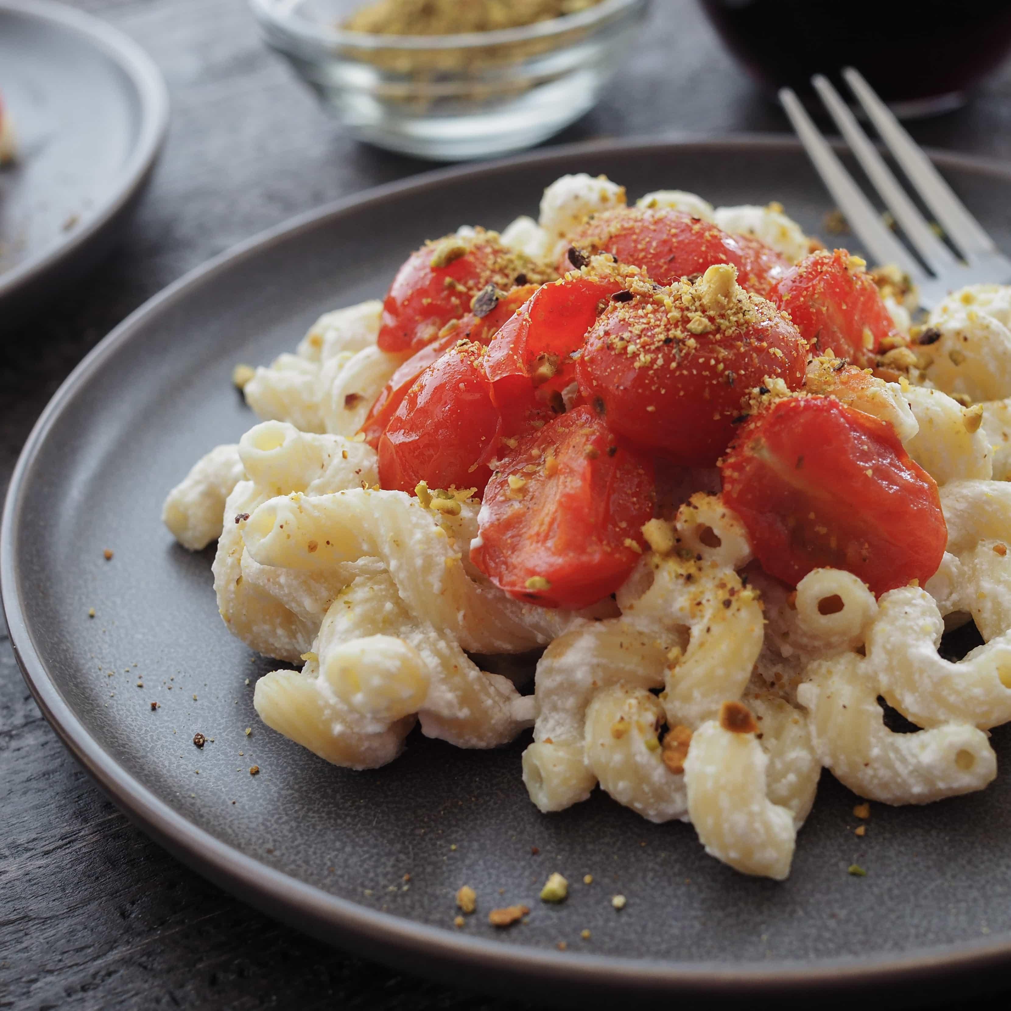Lemon Pistachio Cavatappi with Pan Roasted Tomatoes