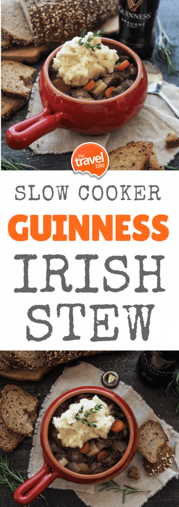 This Irish stew recipe is modified from a card I picked up at the Guinness Storehouse in Dublin during our guided food tour of Ireland. What I loved about their Guinness Beef Stew is the simplicity of the ingredients. While Irish stew is typically made in a dutch oven, it was easy to modify for a slow cooker in order to save some time in the kitchen. | thetravelbite.com | #Ireland #Stew #SlowCooker