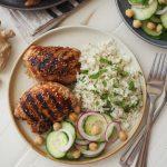 Sesame Chicken with Coconut Cilantro Rice