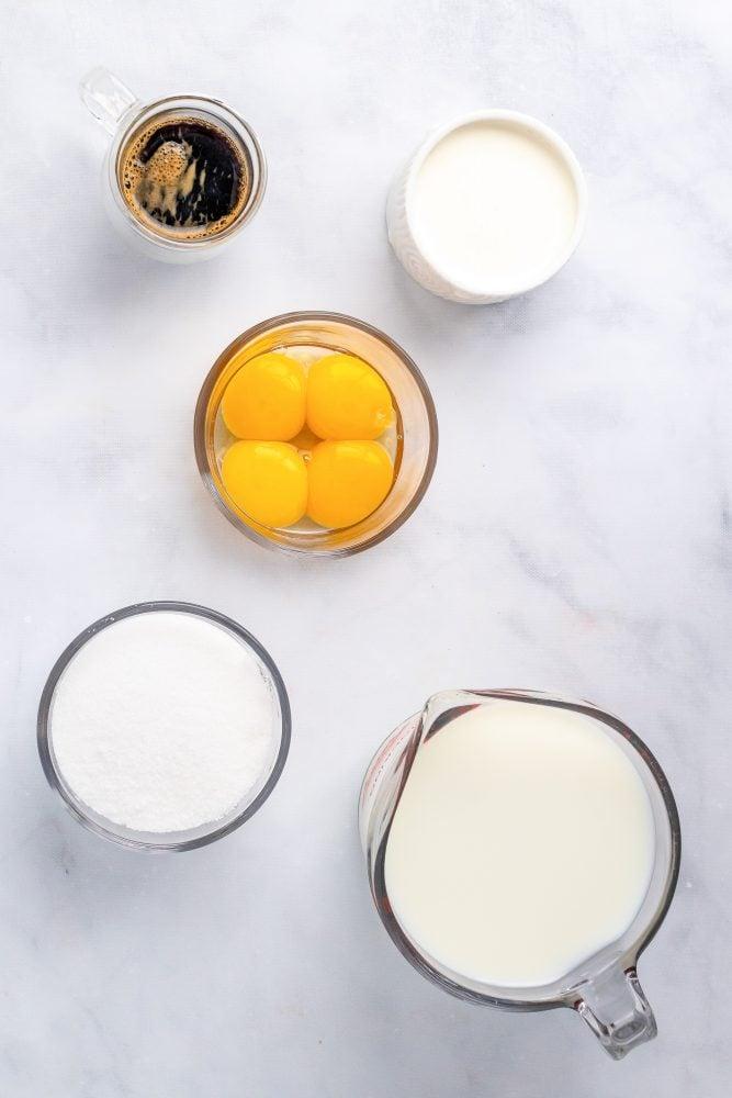 Coffee Gelato Ingredients including milk, cream, egg yolks, sugar, and espresso.