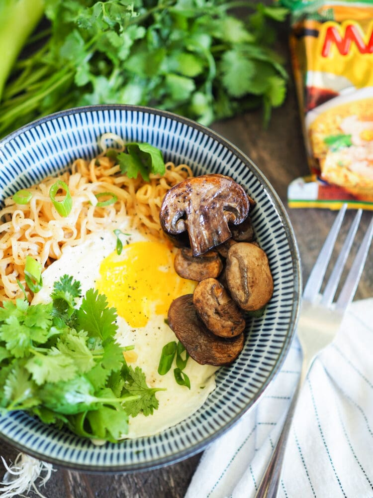 Ramen Hacks: Instant Noodles With Ramen, Soft Boiled Egg, Cilantro, and Mushrooms