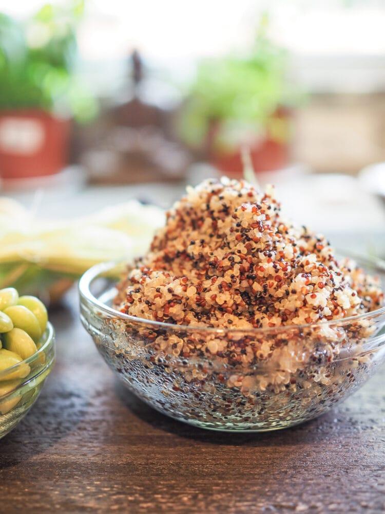 A bowl of fresh cooked multi color quinoa.