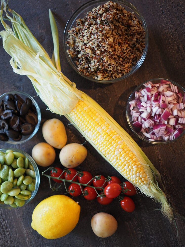 Overhead shot of whole ingredients in quinoa salad.