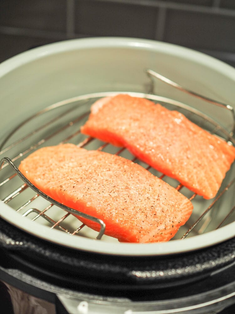 Raw salmon filets, seasoned with salt and pepper, on a roasting rack inside a Ninja Foodi air fryer.
