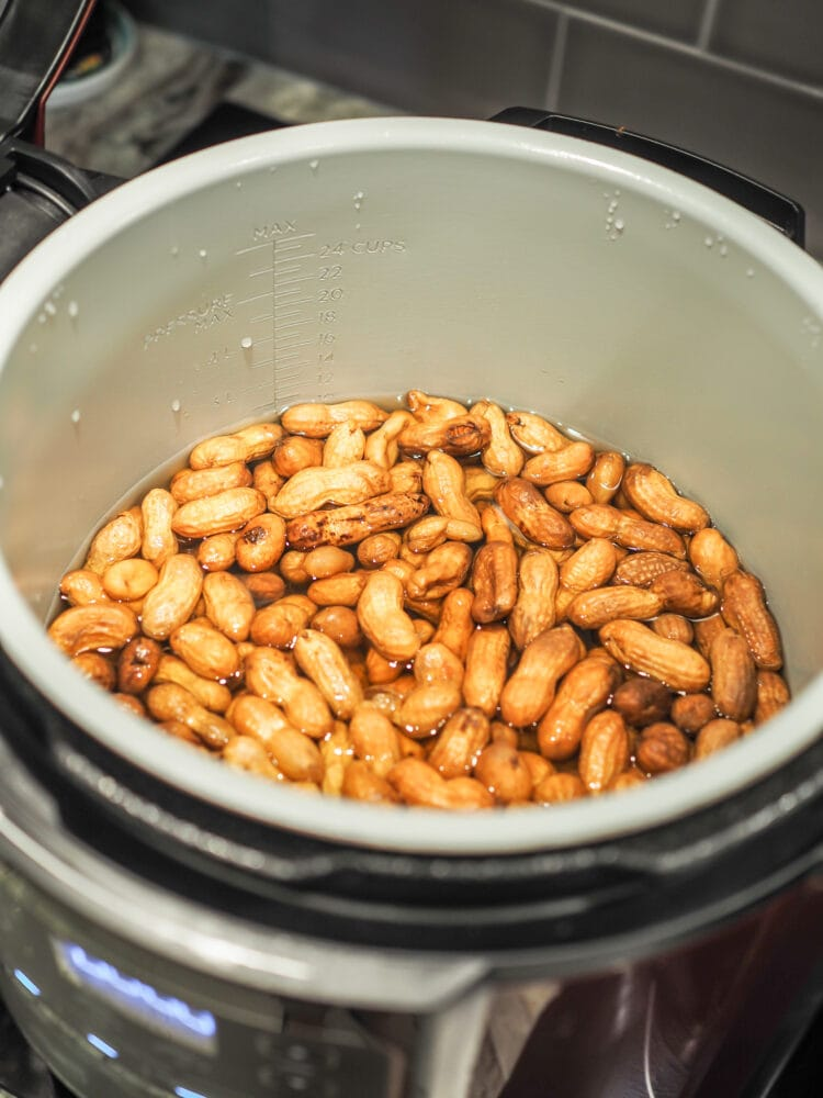 Boiled peanuts slow cooked in a multi-cooker under a slow cooker setting.