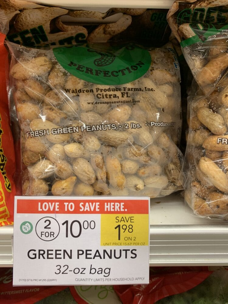A 32 ounce bag of green peanuts in the produce section of Publix.