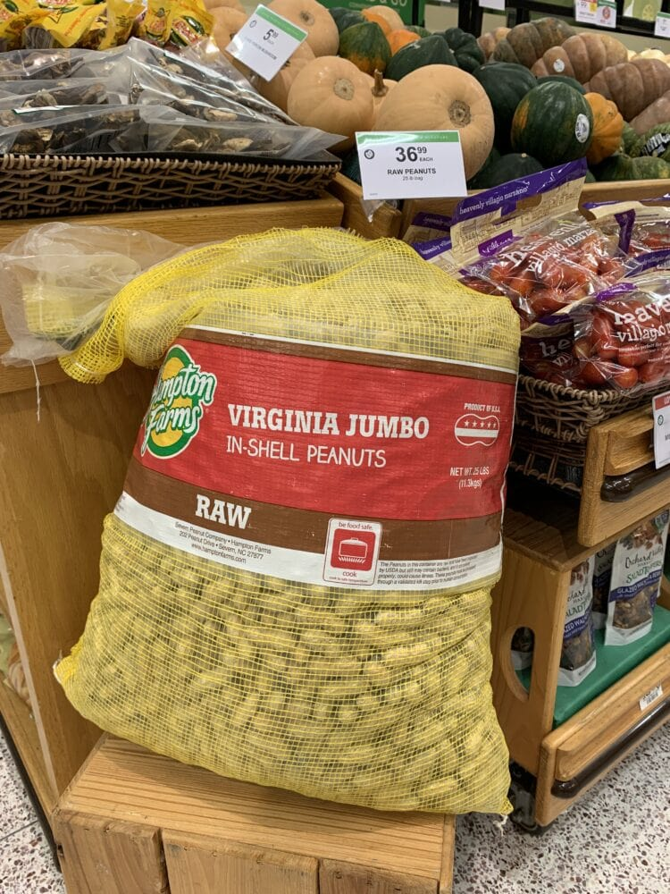 A 25 pound bag of raw peanuts at Publix, a Florida grocer.
