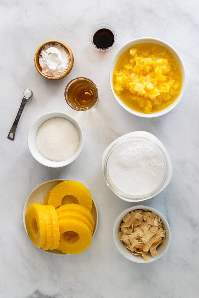 Overhead shot of ingredients measured out: full-fat coconut milk, 1/2 cup cane sugar, 1/4 teaspoon salt, 2 tablespoons cornstarch ,1 1/2 teaspoons vanilla extract, 1/2 cup organic coconut flakes