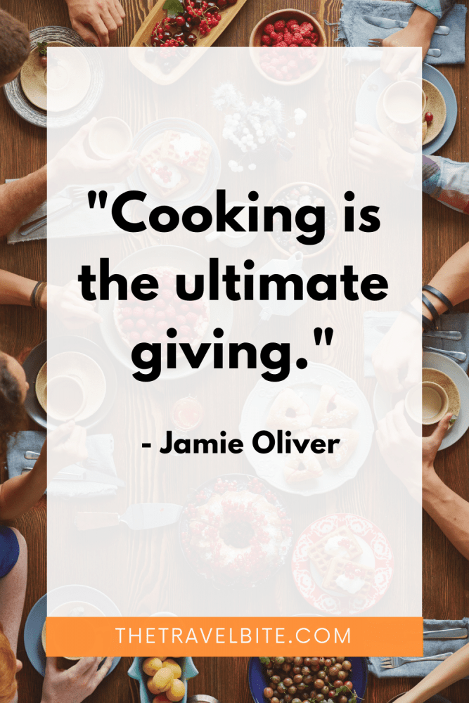 """Food Quote: """"Cooking is the ultimate giving."""" -Jamie Oliver"""