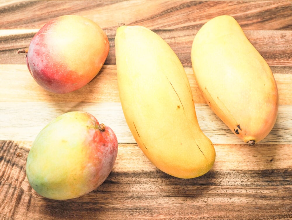 Overhead shot of several varieties of mangoes, from small and round to long and oval shaped.