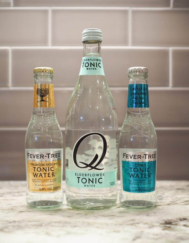 Three different types of tonic: Fever-Tree Premium Indian Tonic Water, Q Elderflower Tonic Water, and Fever-Tree Citrus Tonic Water.