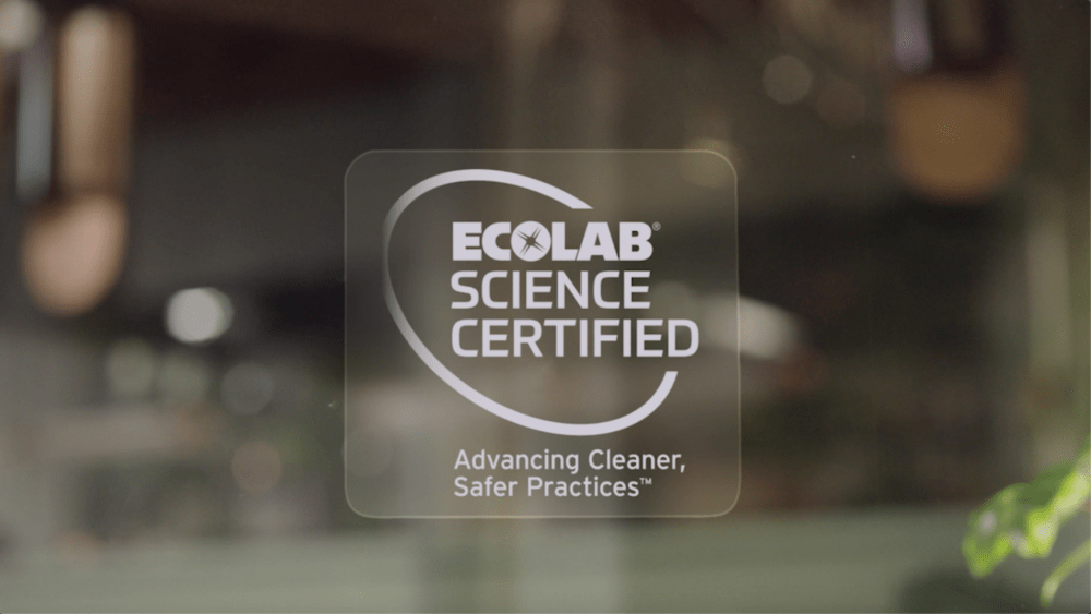Ecolab Science Certified sign on a window.