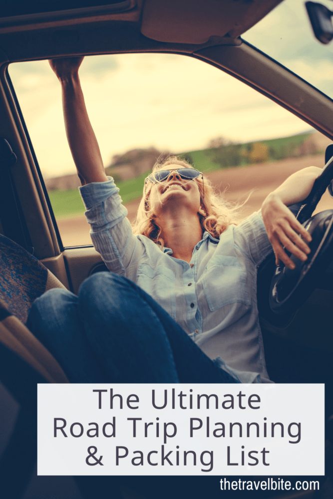 Image to pin on Pinterest. Girl wearing sunglasses relaxing while looking out of a car window.