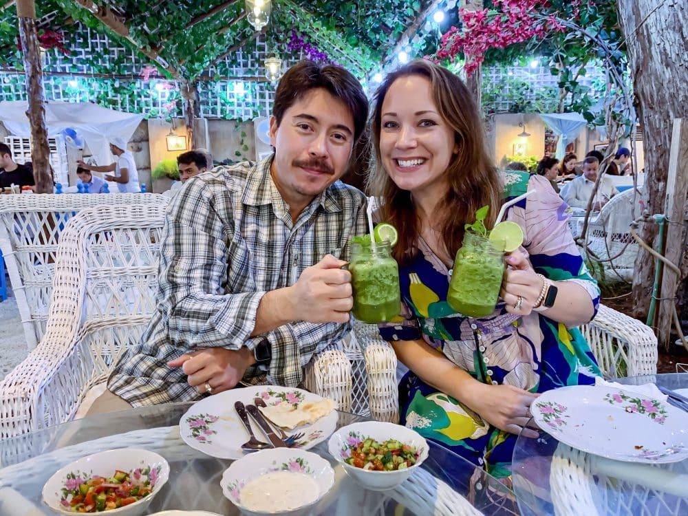 Pete and Rachelle enjoying a frozen mint lemonade in Dubai.