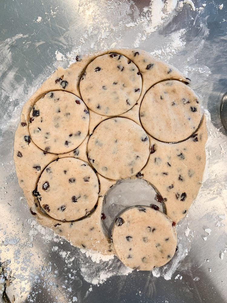Dough cut in circles with a biscuit cutter.