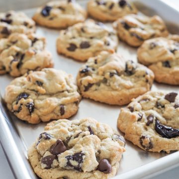 Sheet pan with baked cherry chocolate chip cookies