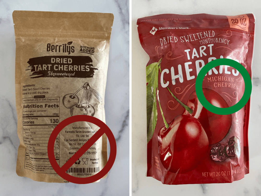 Two different bags of dried tart cherries, one showing imported, one showing Michigan grown.
